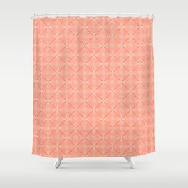 White Lace on Coral Pink Background Shower Curtain