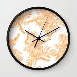 Island Vacation Hibiscus Palm Coral Orange Wall Clock
