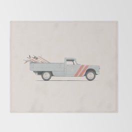 Surfboard Pick Up Van Throw Blanket