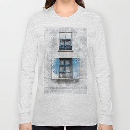 Architect Drawing of Blue Wooden Windows Long Sleeve T-shirt