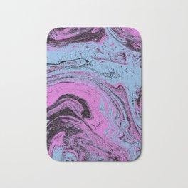 Marble spilled ink japanese suminagashi pastel swirl ocean topography map Bath Mat