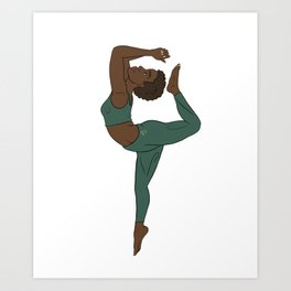 Black Yogi in Kemetic Yoga Pose - Forest Green Workout Art Print