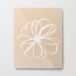 Abstract Flower White Beige Metal Print