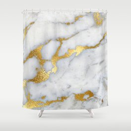 White and Gray Marble and Gold Metal foil Glitter Effect Shower Curtain