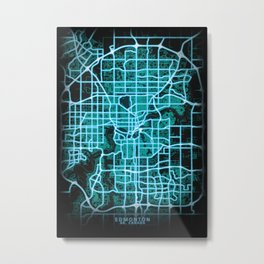 Edmonton, AB, Canada, Blue, White, Neon, Glow, City, Map Metal Print