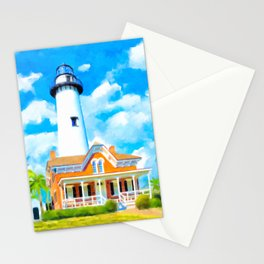 St Simons Island Lighthouse - Georgia Coast Art Stationery Cards