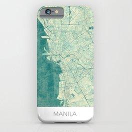 Manila Map Blue Vintage iPhone Case