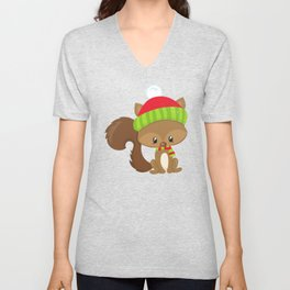 Cute Squirrel, Squirrel With Hat, Scarf, Fluffy Tail Unisex V-Neck