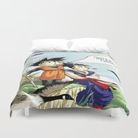 dragonball Duvet Covers featuring The fucks I give by bernardtime