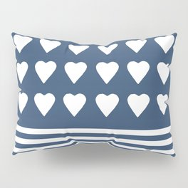Heart Stripes Navy Pillow Sham