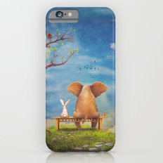 Elephant and rabbit sit on a bench on the glade Slim Case iPhone 6