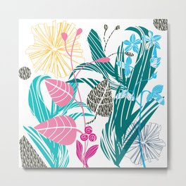Stylized leaves and flowers Metal Print