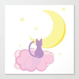 Kitty On A Cloud Small Canvas Print
