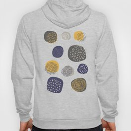 Abstract Circles in Mustard, Charcoal, and Navy Hoody