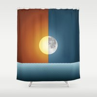 sun and moon Shower Curtains featuring Sun & Moon by Angelina Fenty