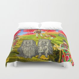 THE COLORFUL KNIGHT AND THE SEPIA BEGGARS Duvet Cover