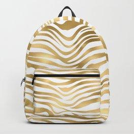 Glam Gold and White Zebra Print Pattern Backpack