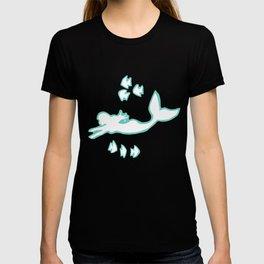 Mint and White Mermaid Silhouette Art T-shirt
