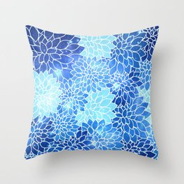 Space Dahlias Sky Blue Throw Pillow