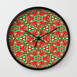 Red, Green and White Kaleidoscope 3375 Wall Clock