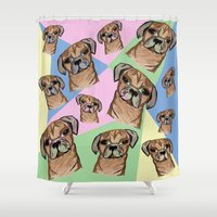 pugs Shower Curtains featuring square pugs by lindseyclare