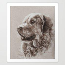 Dog Art - Golden Retriever smile Art Print