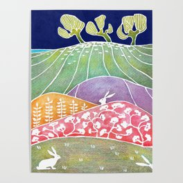 Rabbits on the meadow Poster
