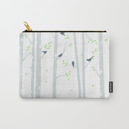 Grey Birch Trees on White Carry-All Pouch