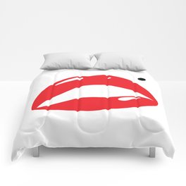Sexy Lipstick Lips Kissing With A Beauty Spot Comforters