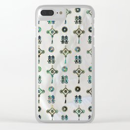 Gold and Abalone Shell Lucky Chinese Symbols  Pattern Clear iPhone Case