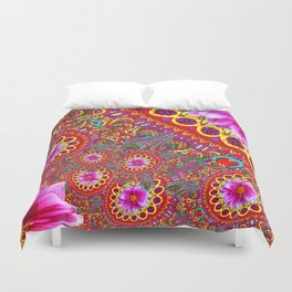 BOHEMIAN  FUCHSIA FLORALS  IN RED-YELLOW COLOR ART Duvet Cover
