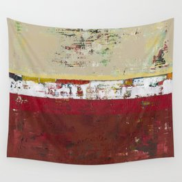Buffalo Indian Red Burgundy Modern Abstract Art Wall Tapestry