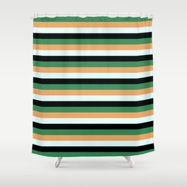 Sea Green, Brown, Light Cyan & Black Stripes/Lines Pattern Shower Curtain