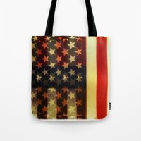 american flag Tote Bags featuring American Flag by Adam Reynolds
