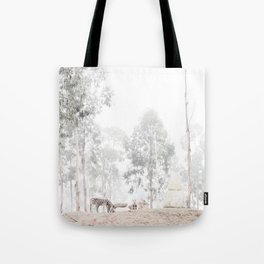 Zebras - through the mist Tote Bag