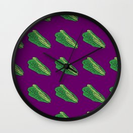 Romaine Lettuce Bright Purple and Green Vegetable Pattern by Design by Cheyney Wall Clock