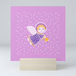 Angel on the pink Mini Art Print