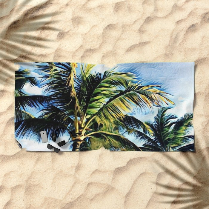 Palm Trees in the Wind (Hawaii Sky) Beach Towel