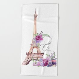 Eiffel Tower Vintage Paris France Beach Towel