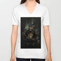samurai V-neck T-shirts featuring Samurai by TSV89