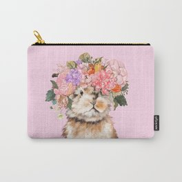 Rabbit with Flowers Crown Carry-All Pouch