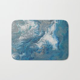 Blue Waves, abstract poured acrylic, blue, white, silver and black Bath Mat