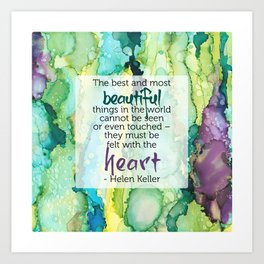 Inspirational Quote - Helen Keller - Alcohol Ink Art Print