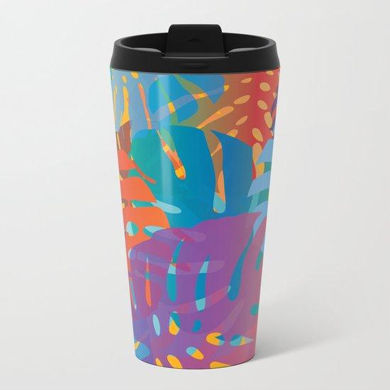 Colorful monstera leaves 2 - gradients Metal Travel Mug