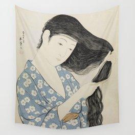 Woman in Blue Combing Her Hair - Hashiguchi Goyo Wall Tapestry