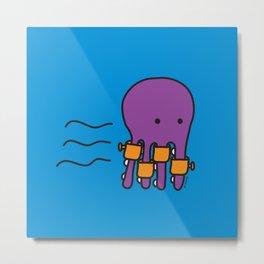Swimming Octopus Metal Print