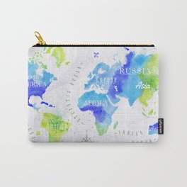Watercolor world map green Carry-All Pouch