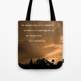 """""""September Clouds #52"""" with poem: God's Paintbrush Tote Bag"""