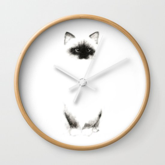Angora Siamese Cat - Chat Siamois Angora Wall Clock