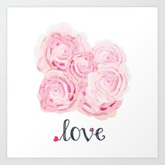 Shabby Chic Rose Bouqet Art Print